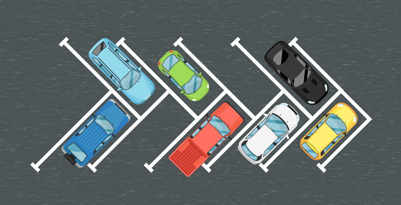 Vehicles using parking lot